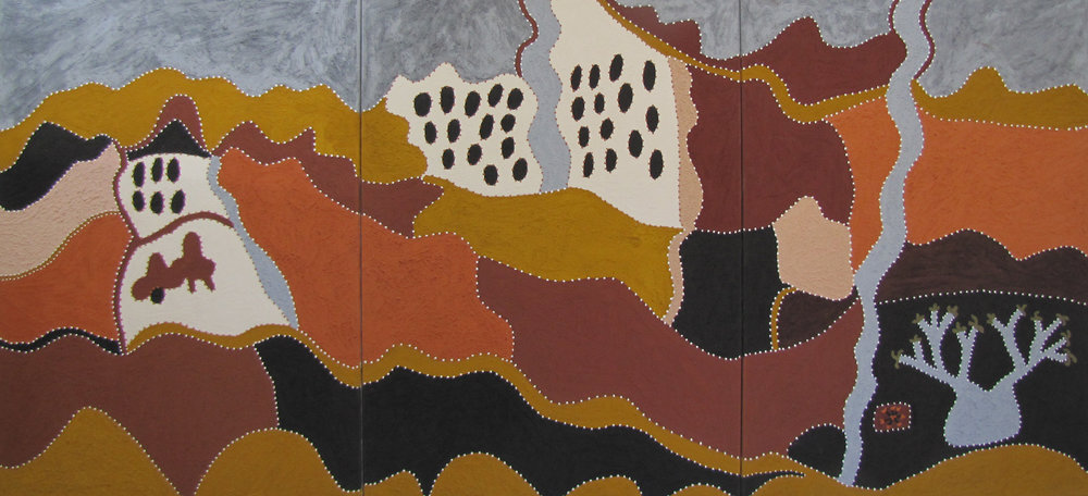 Shirley Purdie, Goordbelayinji.  2012  natural ochre and pigment on canvas Triptych 140 x 300 cm. $18,000. Acquired for the Collection of the Australian War Memorial.