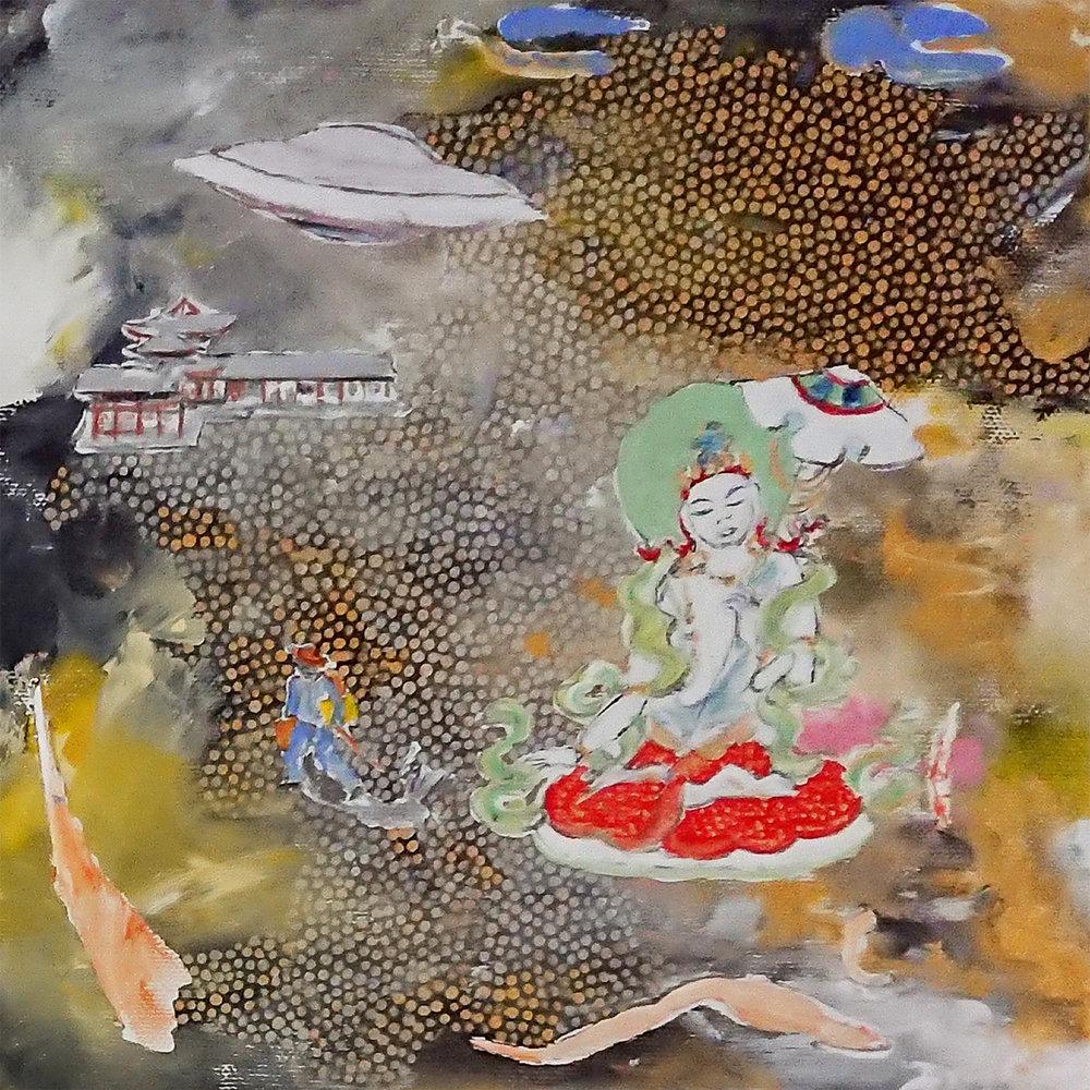 Sitapatra and UFO. 2018. Acrylic on canvas. 20 x 20 $ 300
