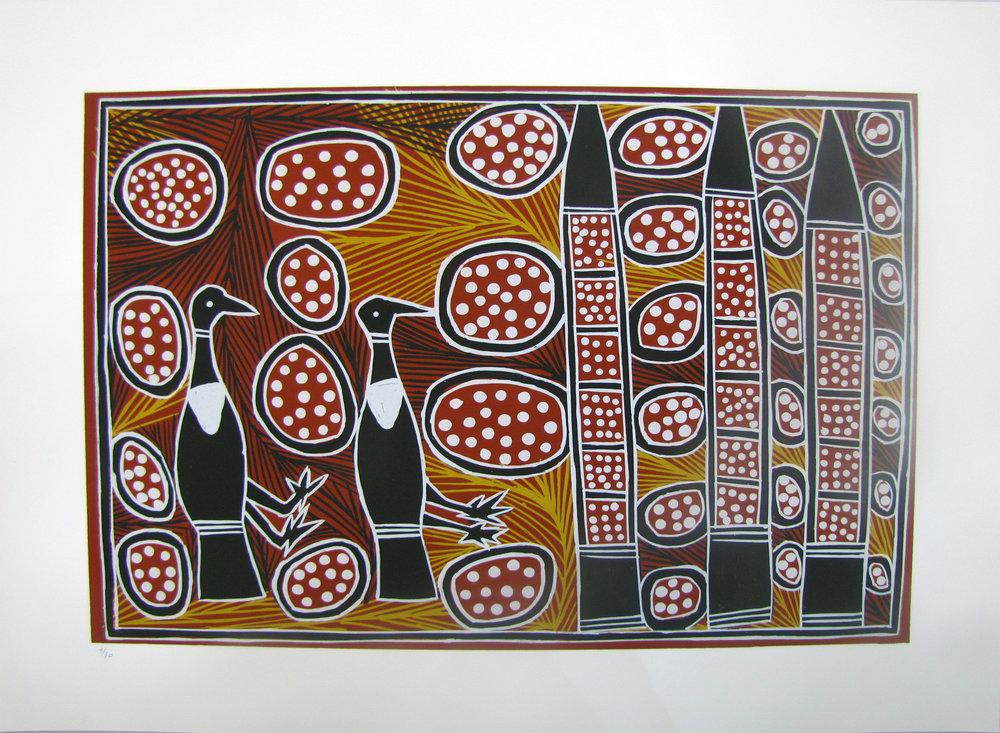 Shirley Banalanydju,  Gumang (Magpie Geese). 2017   Silkscreen. Edition 6 /30  42 x 59.5 cm  $350 (unframed)  $550 (framed)   Editions 5/30, 8/30 & 9/30 (unframed)SOLD