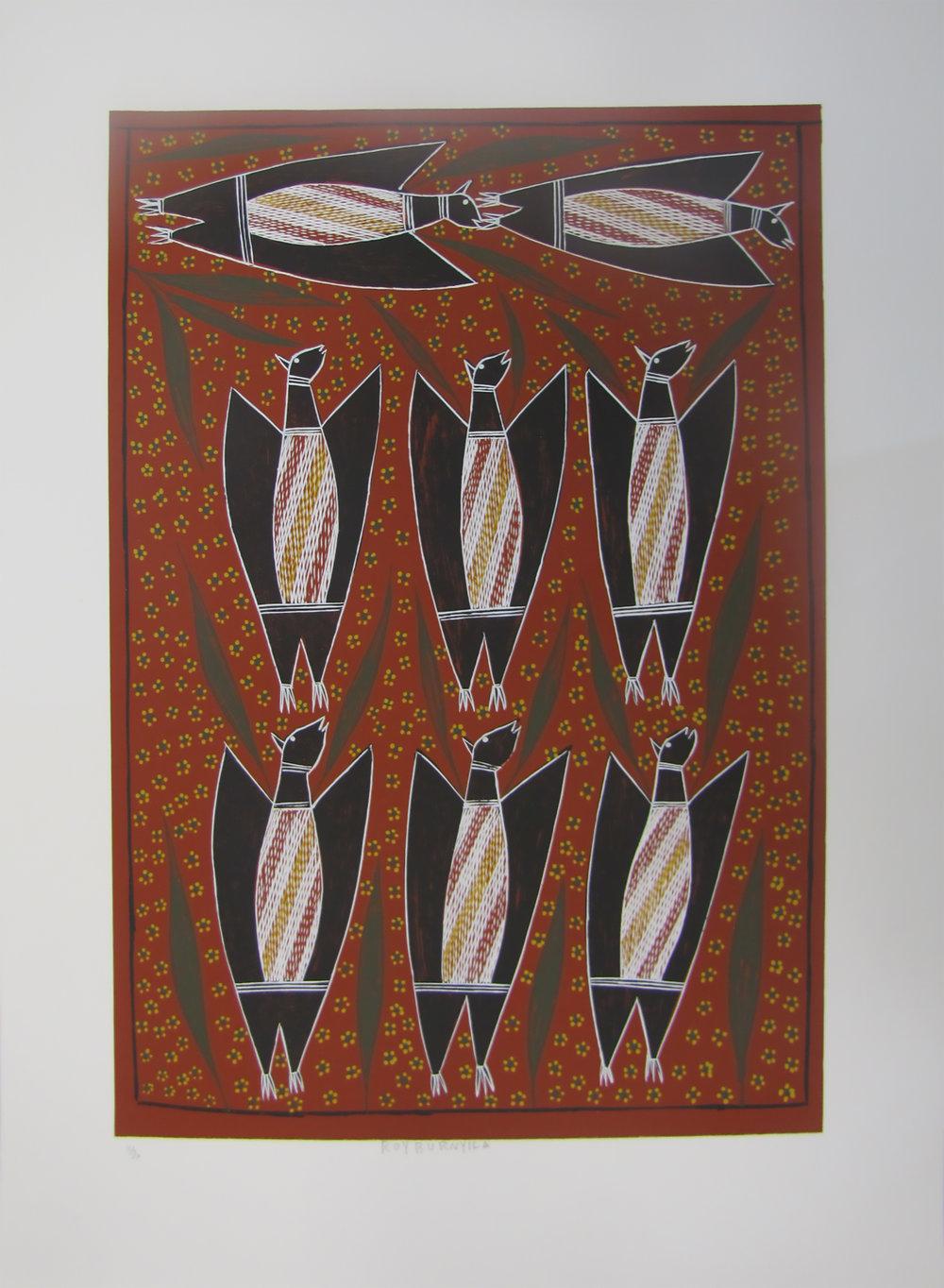 Roy Burniyala, Warrynu (Flying Fox). 2017  Silkscreen. Ed 10/30   59.5 x 42 cm   $350 (unframed)   $550 (framed)   Editions 11/30, 12/30 & 13/30 (unframed) also available