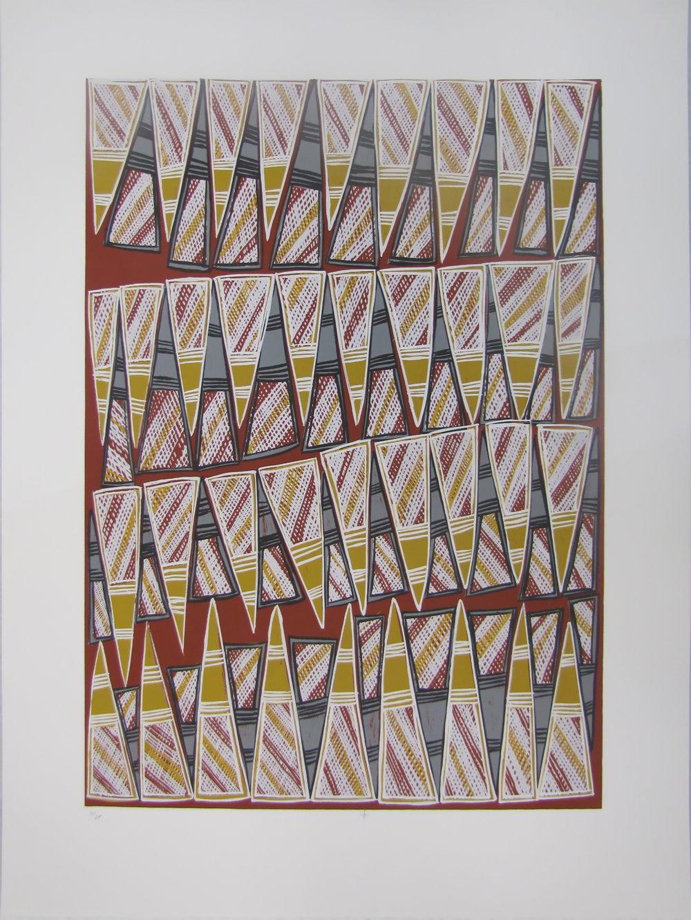 Dorothy Djukulul, Ngambi. 2016 Silkscreen. Ed 14/25, 59.5 x 42 cm. $350 (unframed) $550 (framed) Editions 15/20, 16/20 & 17/20 (unframed) also available