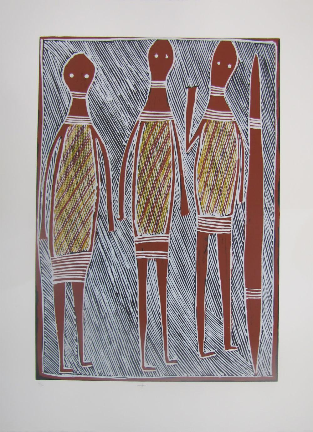 Philip Gudthaygudthay,  Wagilag Ga Wititj Dhawu. 2016  Silkscreen. Ed 9/30,  59 x 42 cm , $350 (unframed)  $550 (framed)   Editions 6/30, 7/30 & 8/30 (unframed) also available