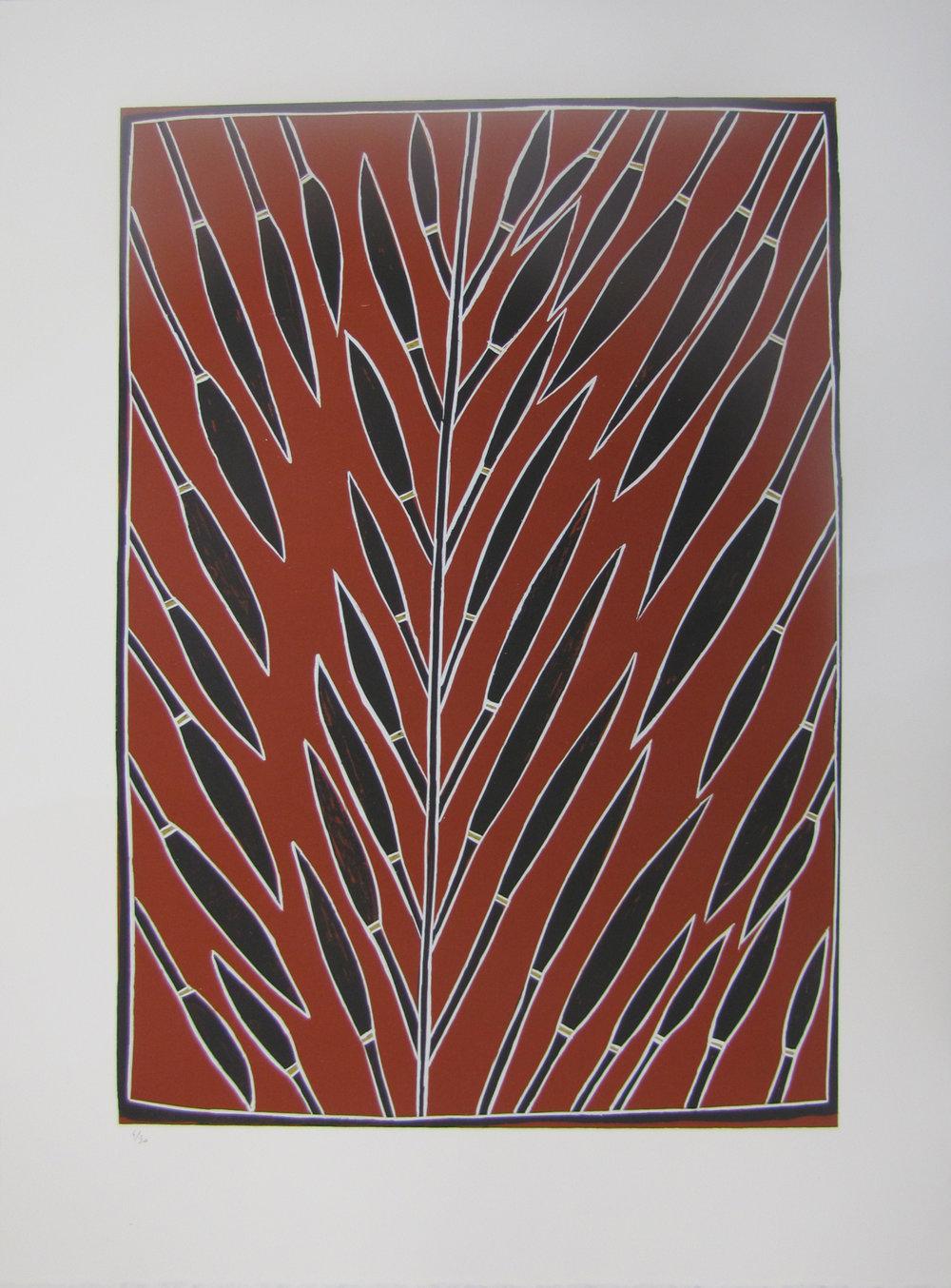 Peter Mingululu, Stringy Bark Tree. 2016  Silkscreen. Ed 5 /30 59.5 x 42 cm $350 (unframed)  $550 (framed)   Editions 6/30, 7/30 & 8/30 (unframed) also available