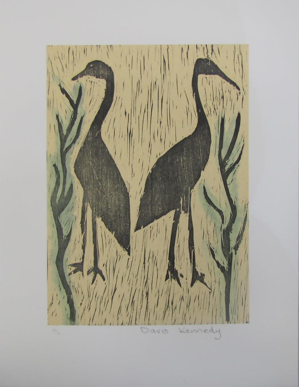 Davis Kennedy, Birds. 2013 Woodcut. Exhibition Proof   30 x 21 cm. $220 unframed.  Editions 12/30, 13/30, 14/30 & 16/30 (unframed) available