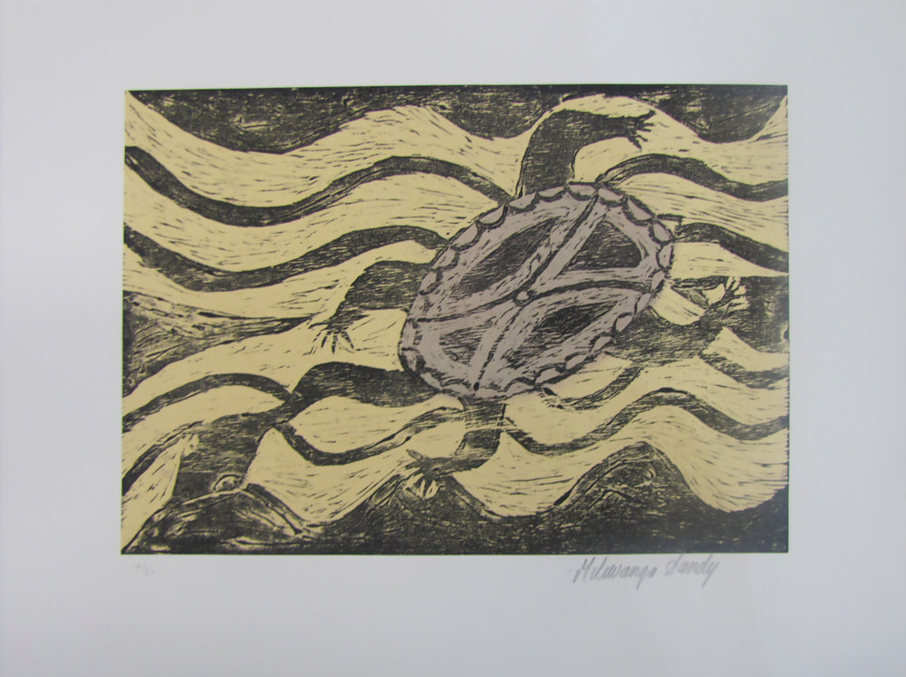 Milliwanga Sandy, Turtles. 2013   Woodcut. Exhibition Proof 21.5 x 30 cm. $220 unframed Editions 14/30, 15/30, 27/30 & 29/30 (unframed) also available