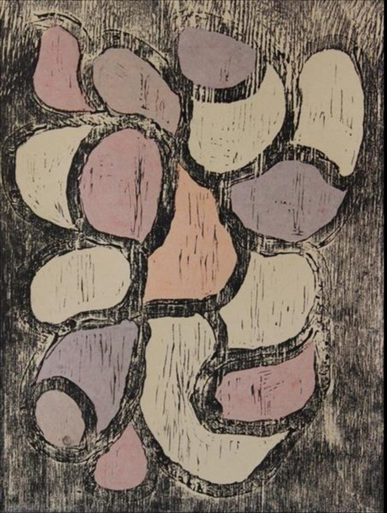 Angkuna Baker, Areyonga. 2014   Woodblock. Edition 4 of 10   39 x 29.5cm. $280 (unframed)  $480 (framed)