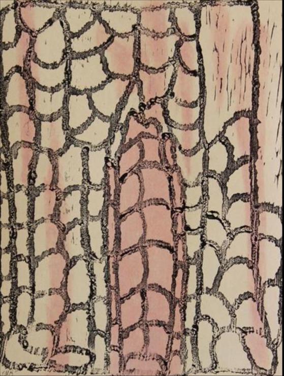 Angkuna Baker,  Areyonga. 2014  Woodblock. Edition 2 /10   39 x 29.5cm. $280 (unframed)  $480 (framed