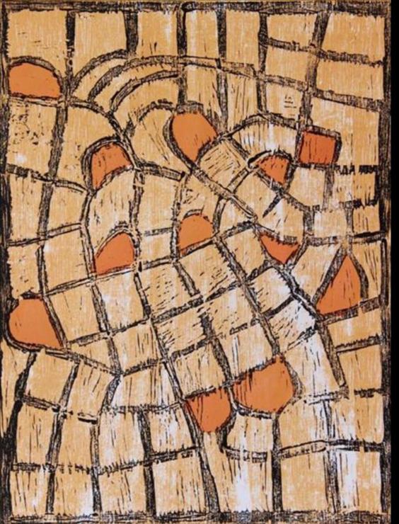 Nellie Coulthard, Ngura Ananyi. 2014   Woodblock. Ed 2/10   40 x 30 cm. $200 (unframed)  $400 (framed)
