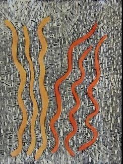 Rene Sundown, Karuailuru (Dry creek). 2014   Woodblock. Ed 1/10   40 x 30 cm.  $200 (unframed) $400 (framed)