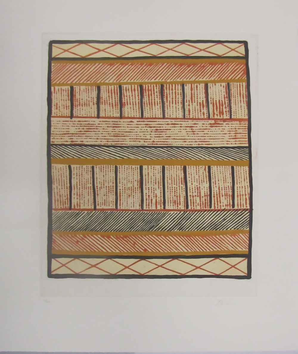 Pedro Wonaemiri, Jilamara. 2017   Etching and silkscreen. Ed 10/20   48.5 x 37.7 cm.  $480 unframed $680 framed Editions 11/20 and 12/20 (unframed) also available