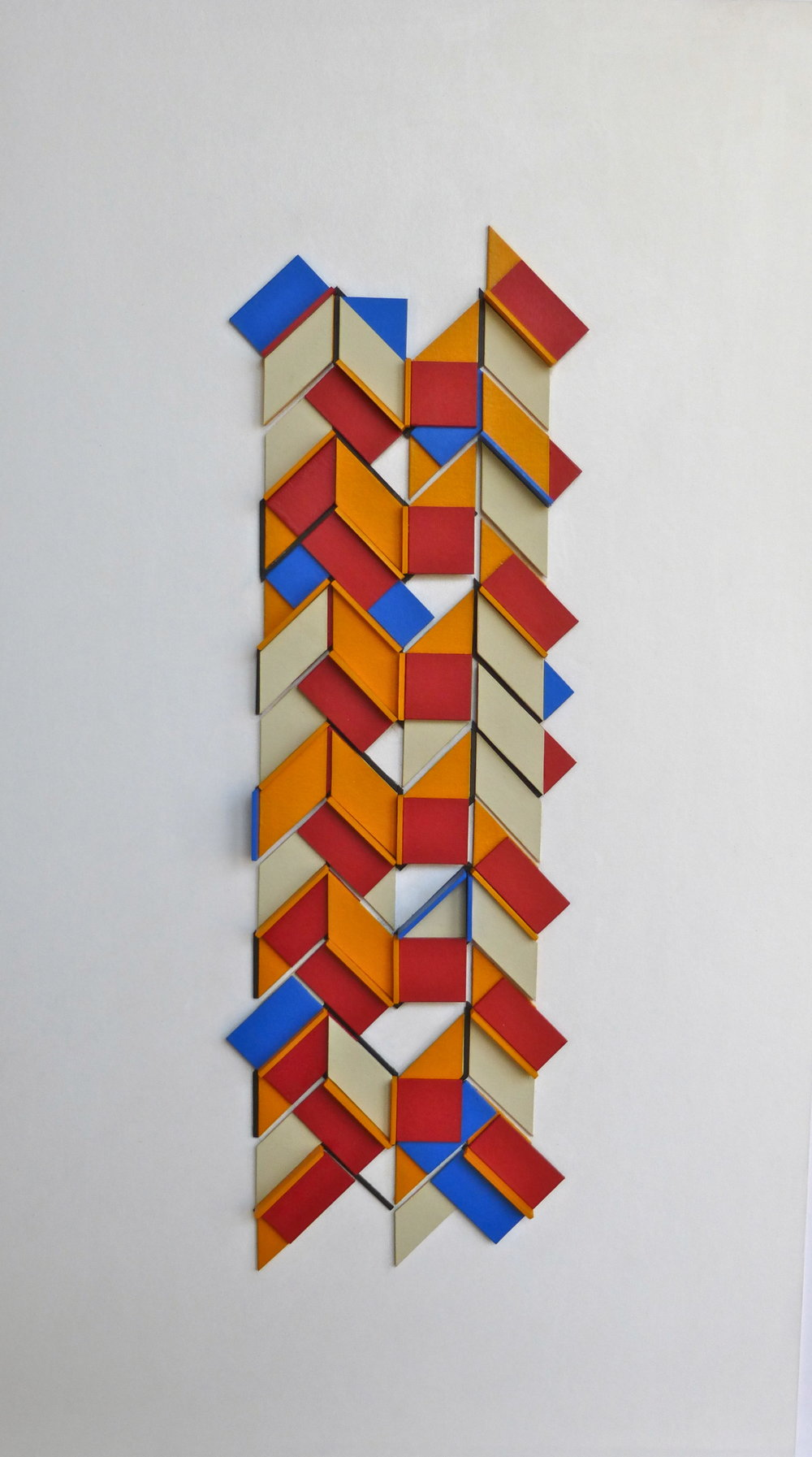 (1,3,5) Rotations x (1=5), 2016. acrylic card and plastic on conservation board, 32.0 x 10.5 x 1.0cm, $1,100