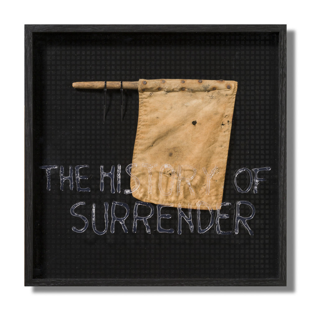 The history of surrender, 2018 Found object/artifact, wood, cotton, metal, plastic, perspex, epoxy resin, HIPS 46 X 46 cm  $4200