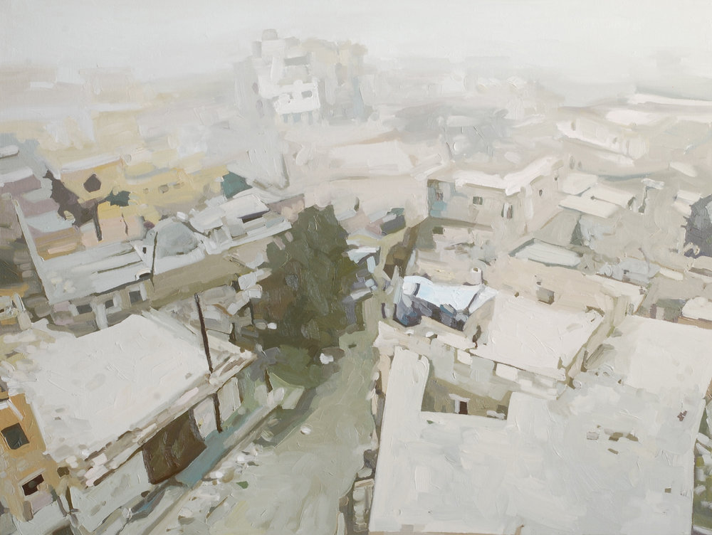East Aleppo 17:56 2018 , oil on canvas 75 x 100, $2800