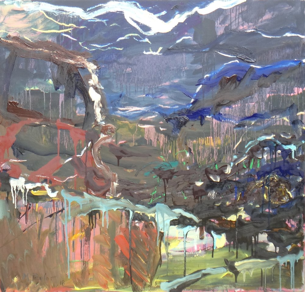 Shoreline 2018.  oil and oil stick on canvas. 96 x 102 cm. $7,000