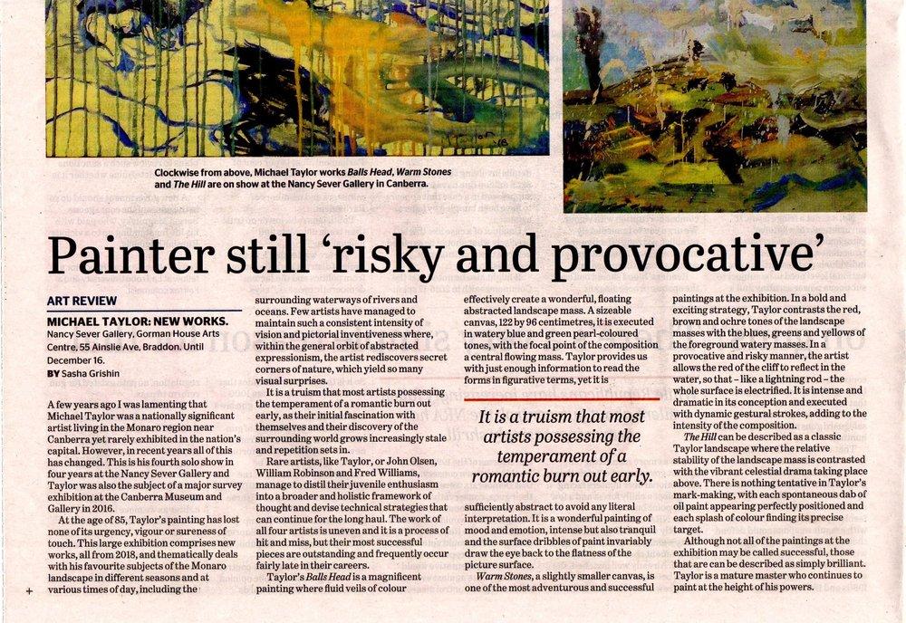 NSG.Michael Taylor exhibition review CT 3dec18 p2.jpg