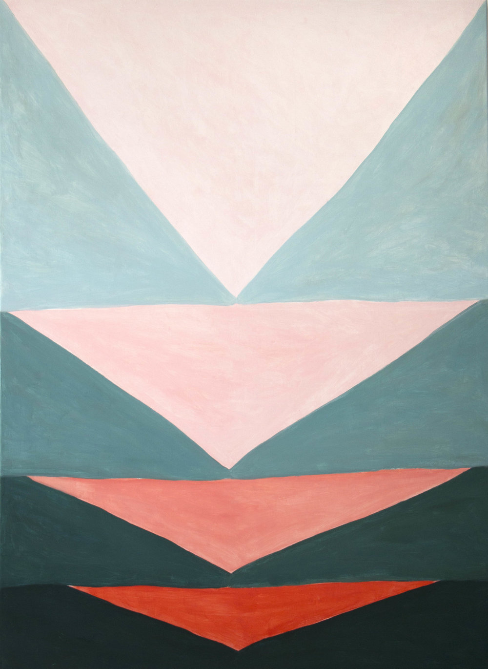 Red tipped is sea green is flushed pink. 2018. Oil and tempera on linen, 150 x 120 cm. $6,900