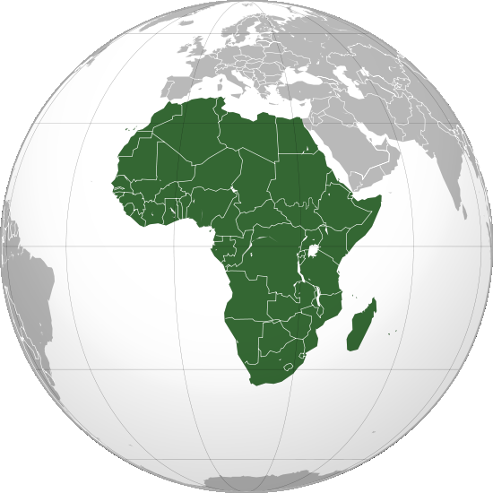By RugTimXII at en.wikipedia. Later version(s) were uploaded by Richardprins at en.wikipedia. (File:Africa (orthographic projection).svg) [Public domain], via Wikimedia Commons.