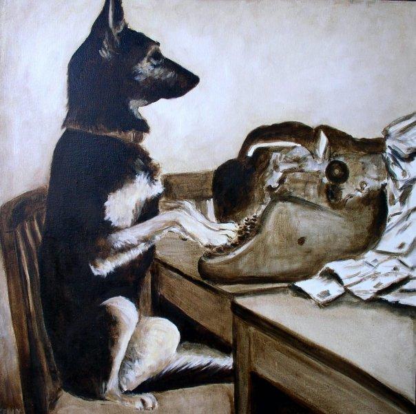 Rin Tin Tin answering fan mail, 24 x 24