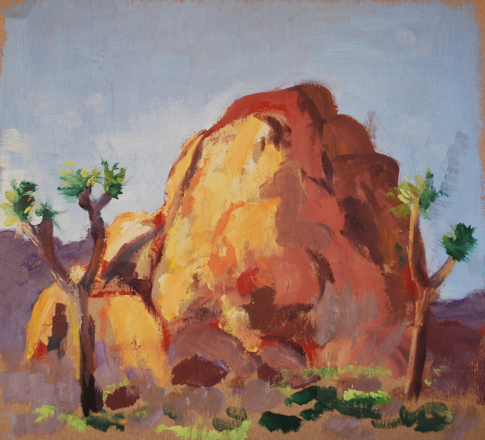 "Hemingway rock, oil on board, 10""x10"""