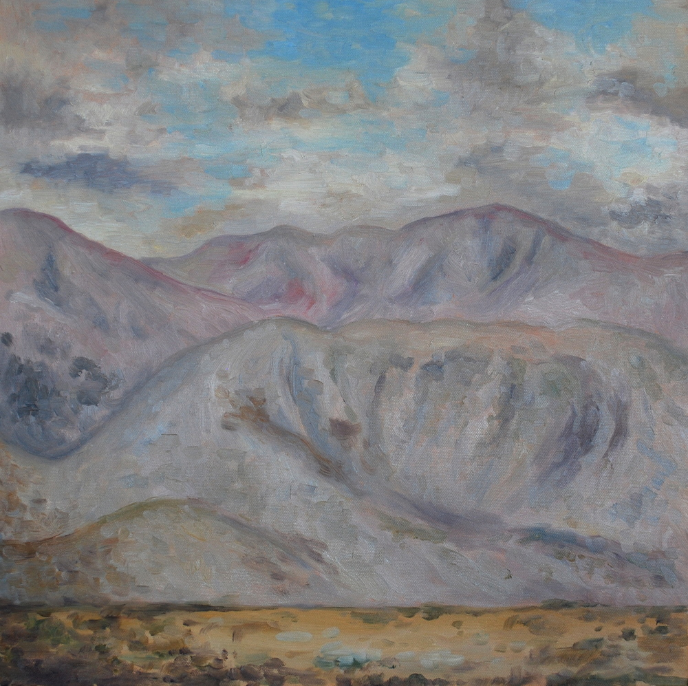 """clouds and mountains, oil, 24""""x24"""", SOLD"""