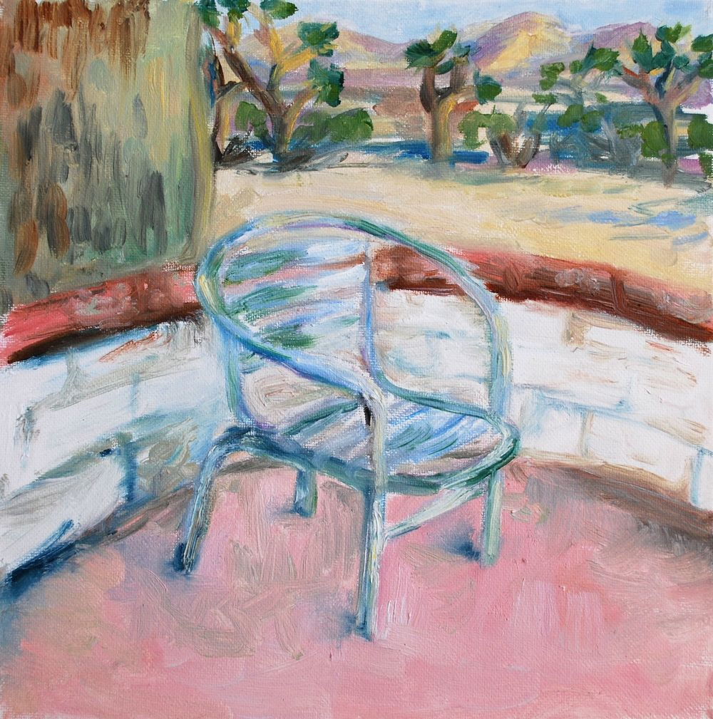 "desert chair, oil, 12""x12"","
