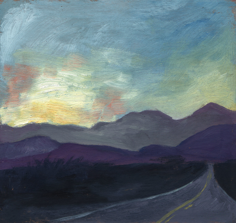 "Indian Canyon at sunset, oil on board, framed, 10""x10"","