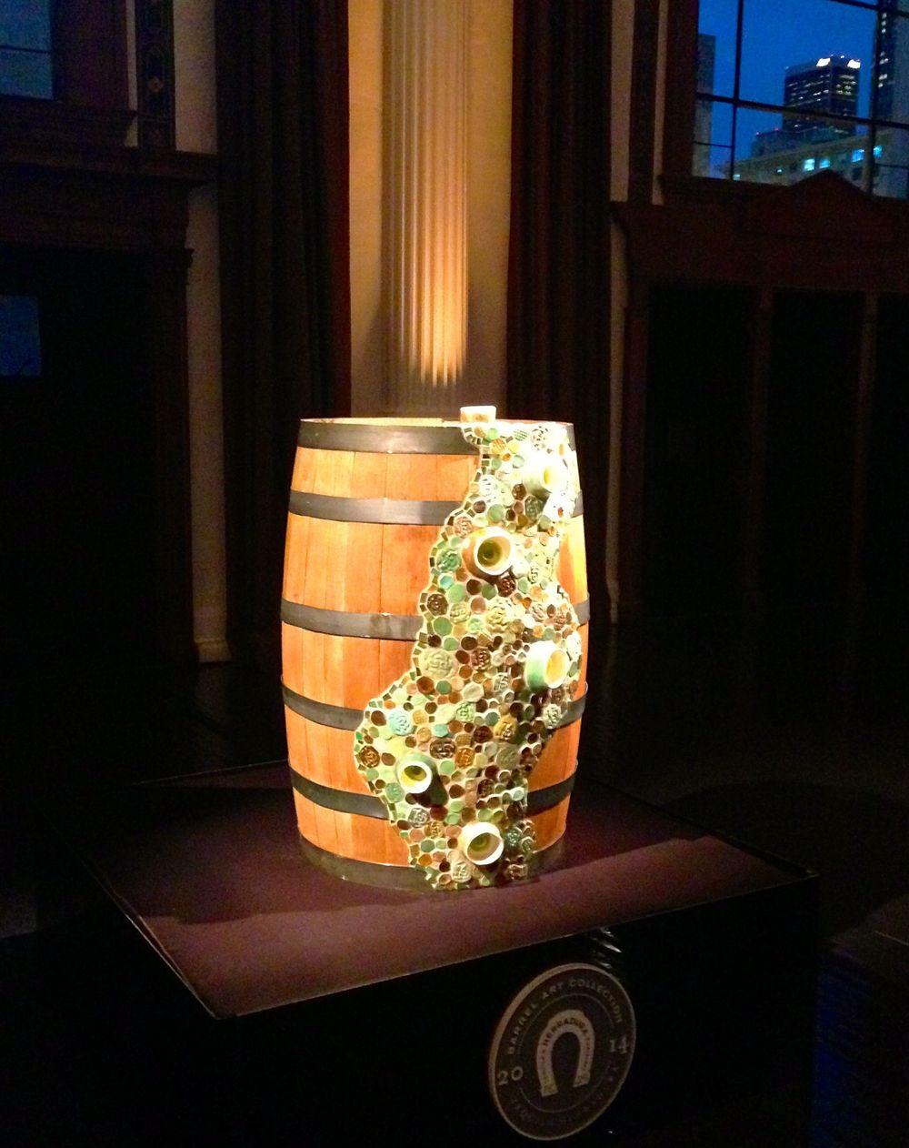 "Herradura Tequila commission, ceramic and fused glass installation on oak barrel, 36""x 28"""