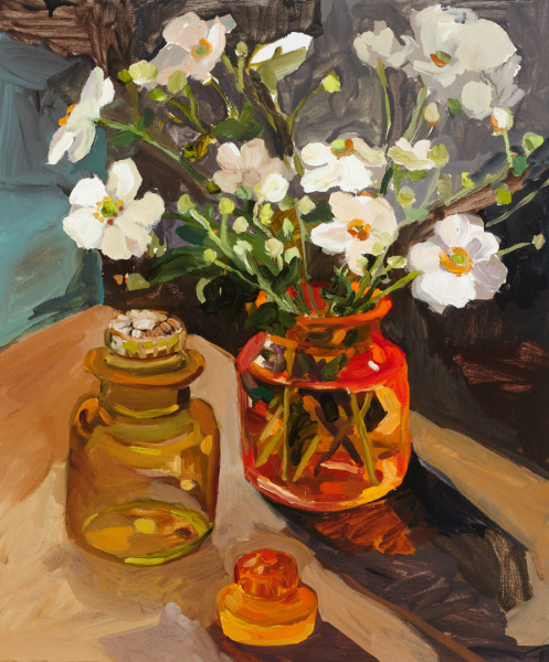 Laura Jones, Windflowers and glass jars 2014, oil on linen, 60 x 50 cm