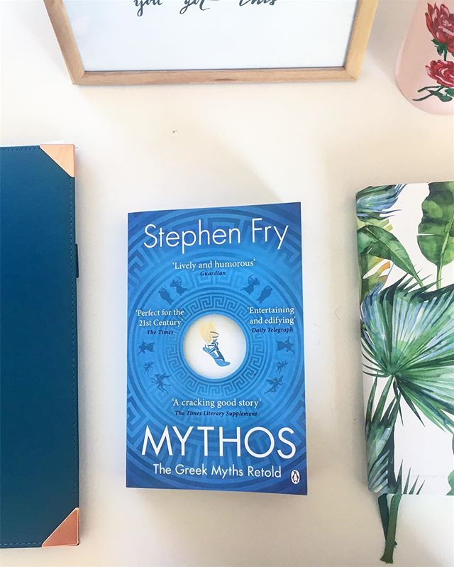 School is starting again tomorrow!  I need to freshen up on my mythology and I figured I'd take advantage of it and use it as a chance to read Stephen Fry's Mythos! So far, it's witty, educational and highly entertaining!! Good luck to my other uni buddies who are going back tomorrow too!  #backtoschool #bookstagram #book #reading #read #mythos #stephenfry #bibliophile #bookworm #school #studygram