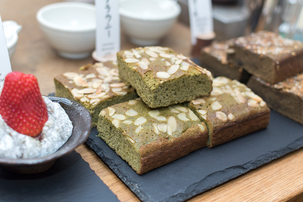 Matcha (green tea) cake