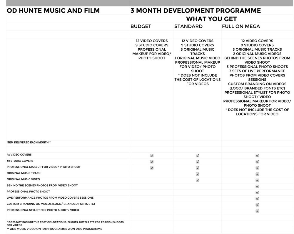 OD HUNTE MUSIC AND FILM 3 MONTH DEVELOPMENT PROGRAMME