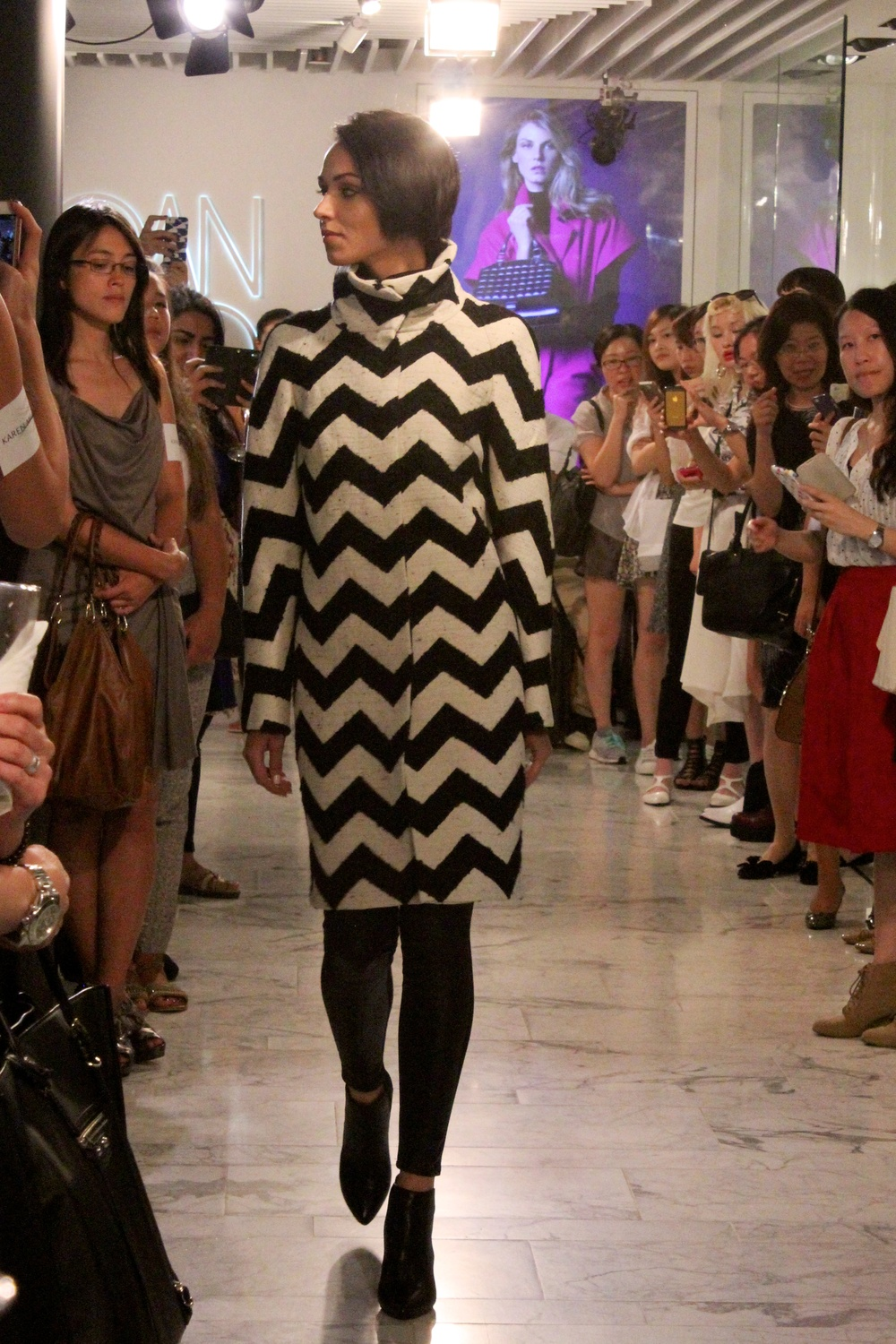 Coat: Oversized zig zag coat