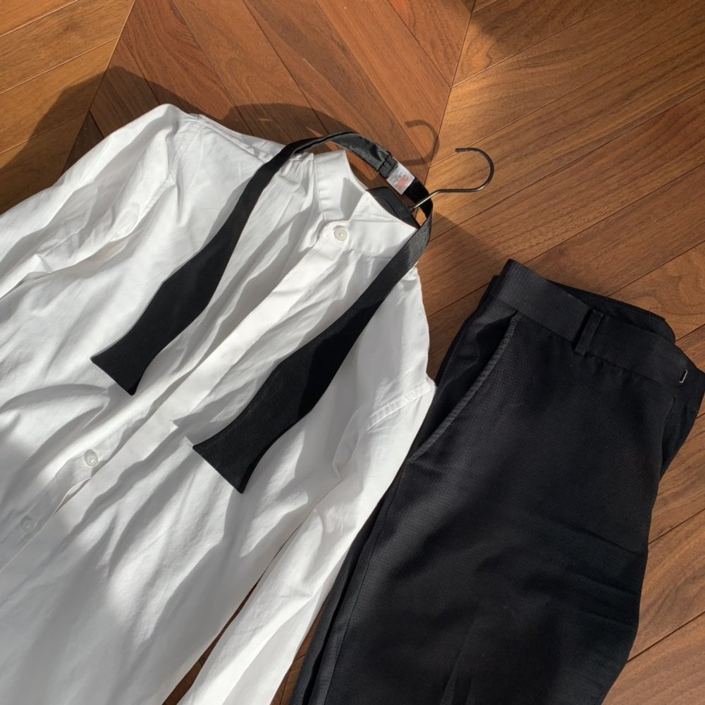 Topman Black Tuxedo with jacket, trousers and shirt. (Bow tie not included)