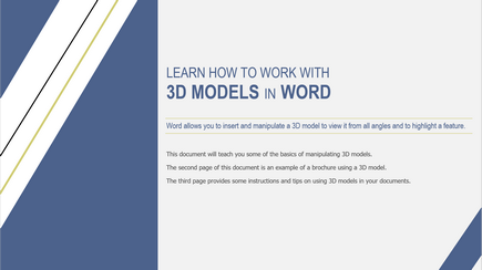 Work with 3D models in Word   Use 3D models in your Word documents with these tips, instructions, and examples.   Download the template