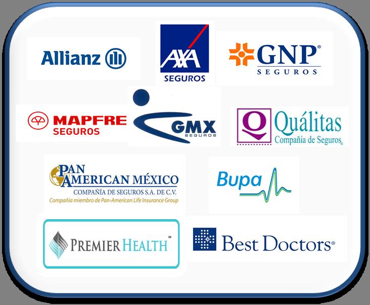 Allianz, AXA Seguros, GNP Seguros, Mapfre Seguros, GMX Seguros, Qualitas, Pan American Mexico, Bupa, Premier Health, Best Doctors.