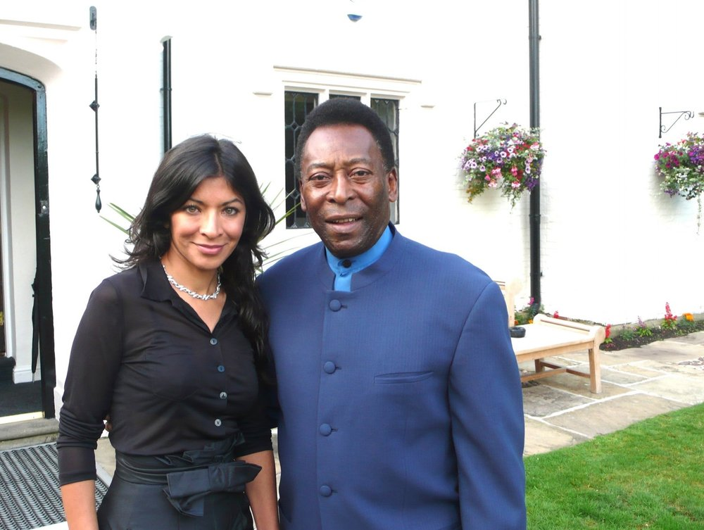 Dr Begum with the football legend, Pele