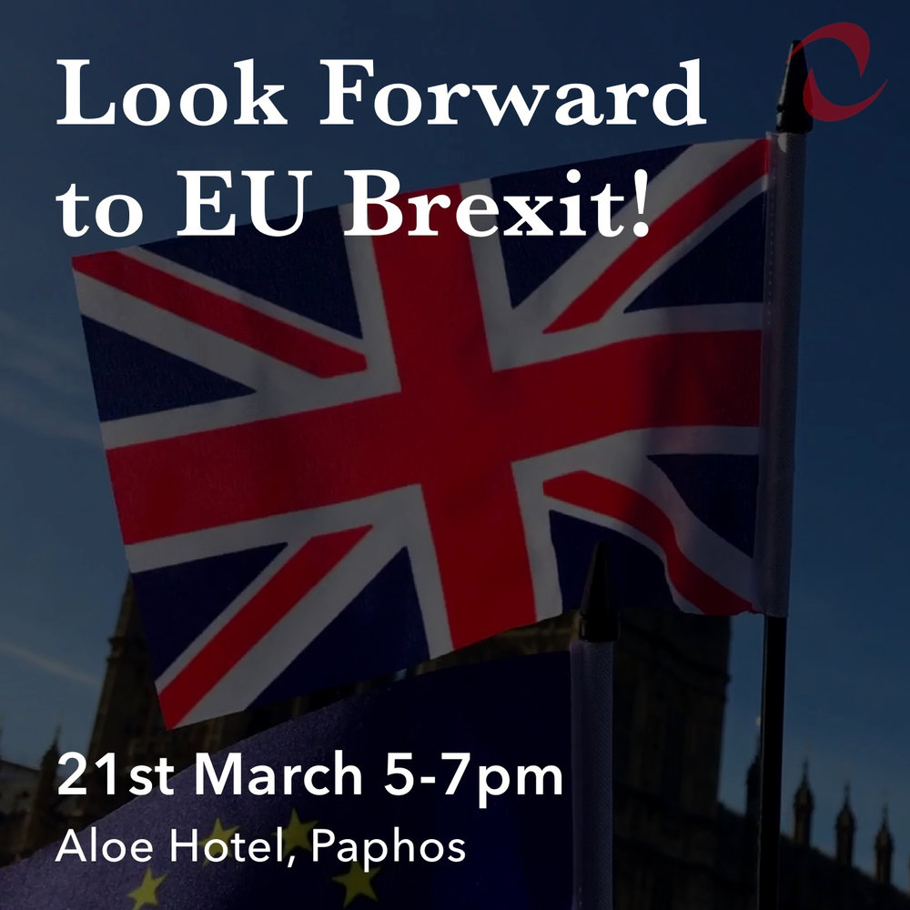 Join us in Paphos - You'll hear professionals talking about positive changes for Expats after Brexit. What to expect, how to deal with the changes, how to win.Join us at the Aloe hotel on 21st March as we look forward to EU Brexit and take your questions.