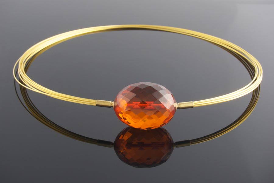 Handmade amber clasp on  gold wire multistrand  necklace
