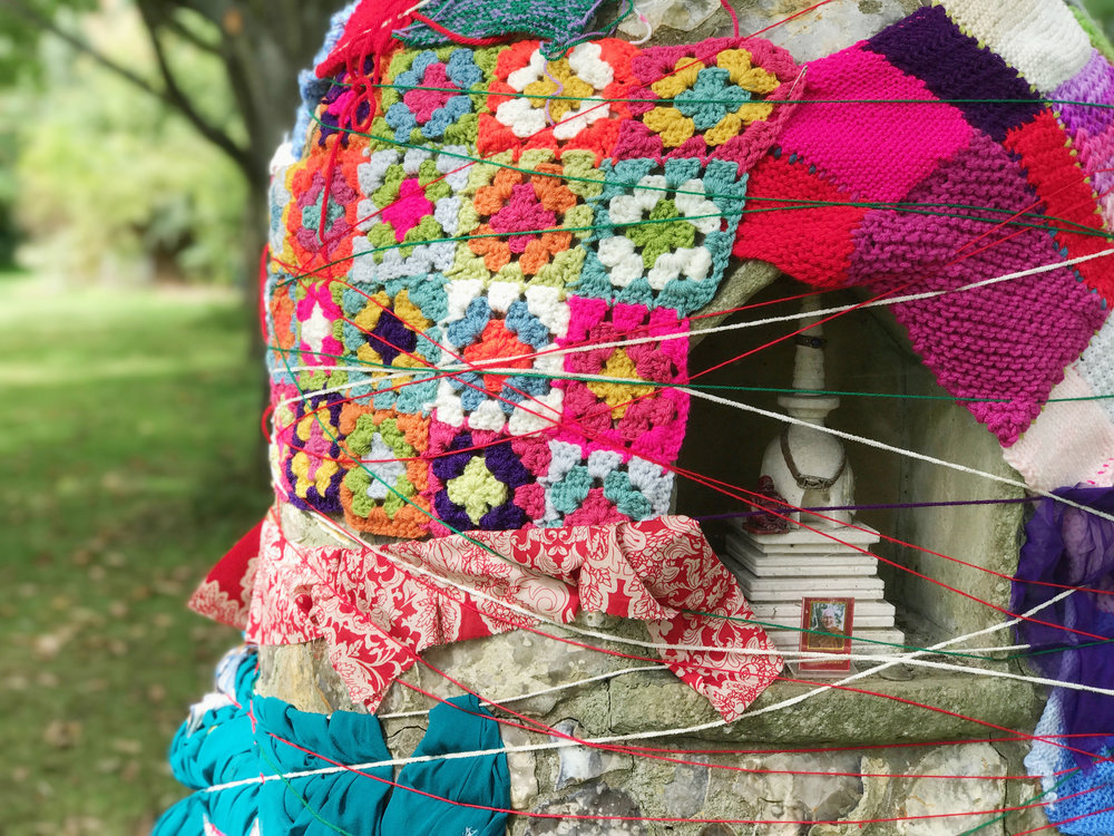 'yarn bombing' on the Stupa