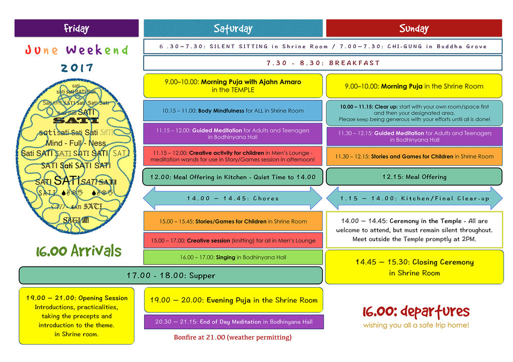 June Weekend 2017 Timetable