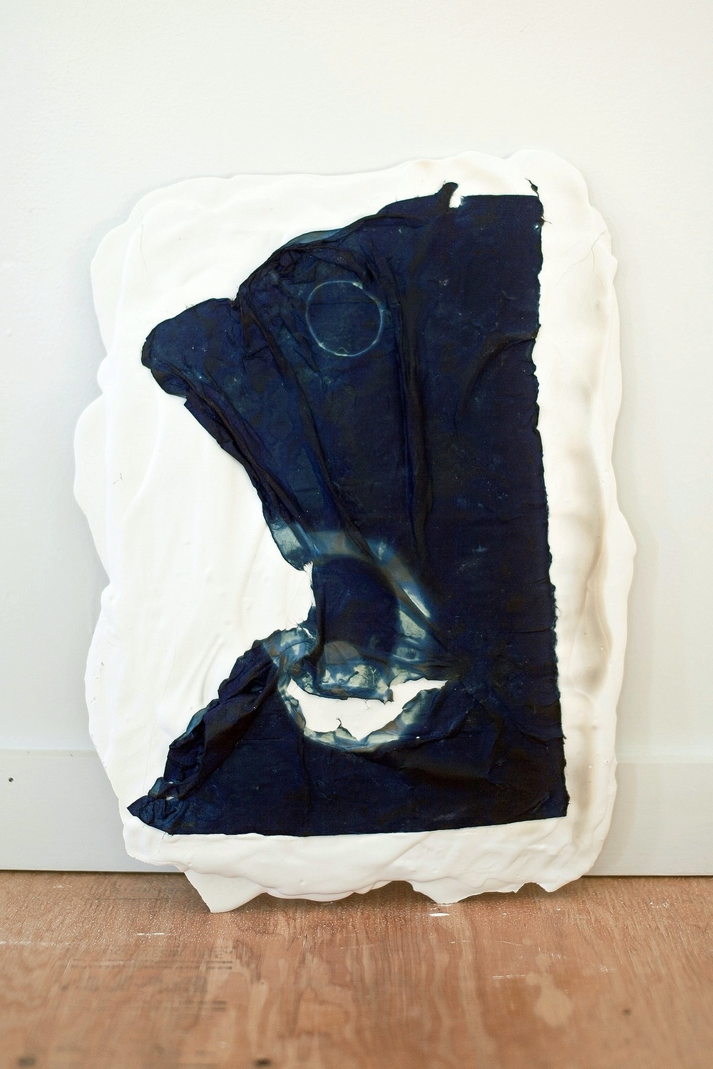 "Bluet II, cyanotype and poured plaster, 16""x20"""