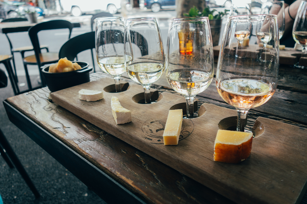Milk the Cow wine cheese flight Voyage Collective