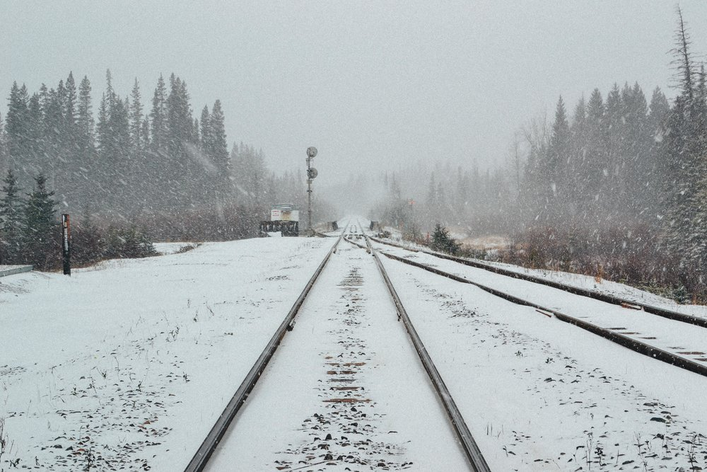 snow train tracks Banff Alberta Voyage Collective Billie Norman