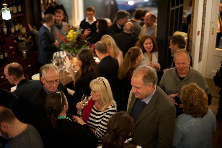 Crowded wine bar in the West End, Edinburgh