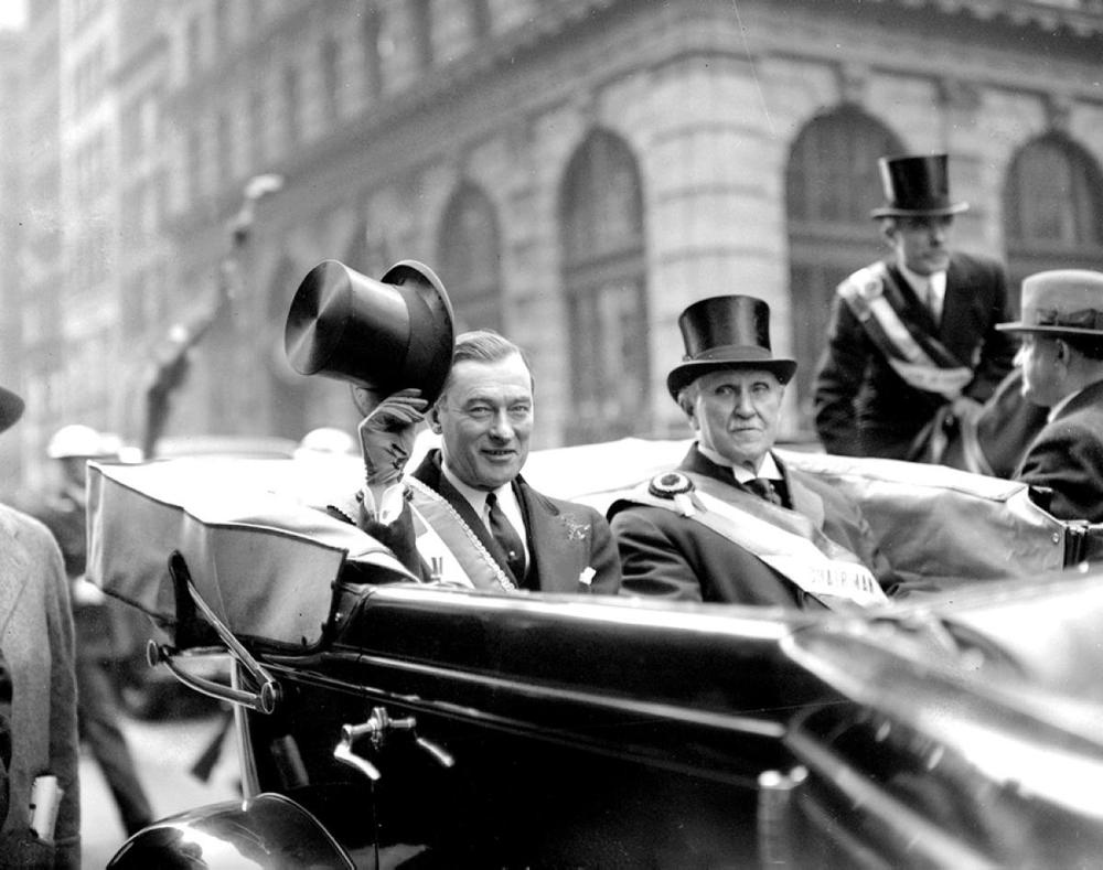 NYC Mayor Jimmy Walker (L) in the 1932 St. Patrick's Day Parade.