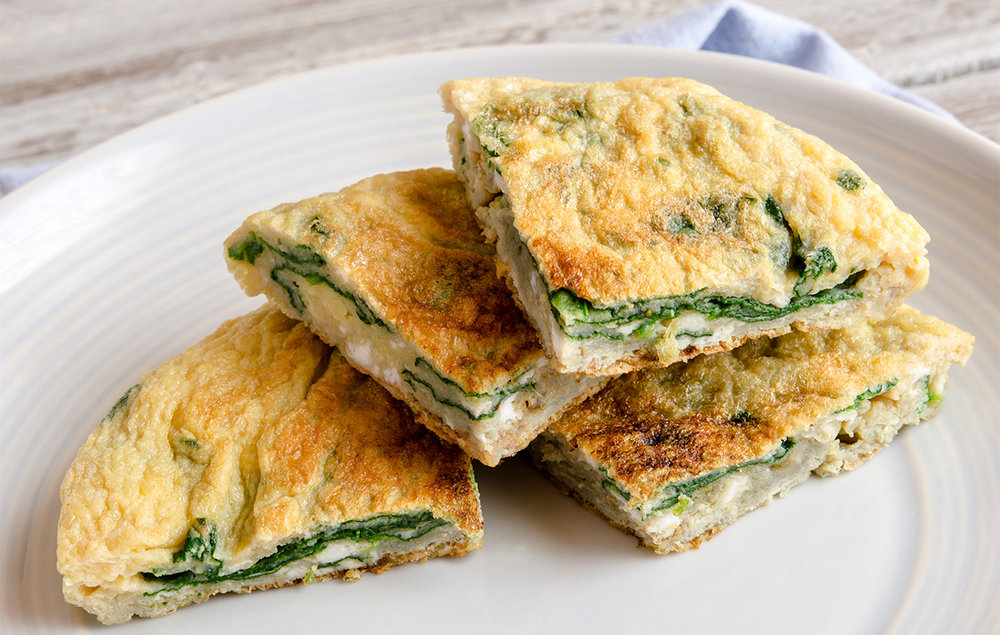 Tortilla de espinacas - Tasty omelette stuffed with spinach.