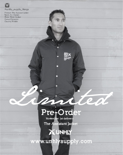 Limited Pre-Order on The Assistant Jacket. Order now at  www.unhlysupply.com  for a November 1st shipment.