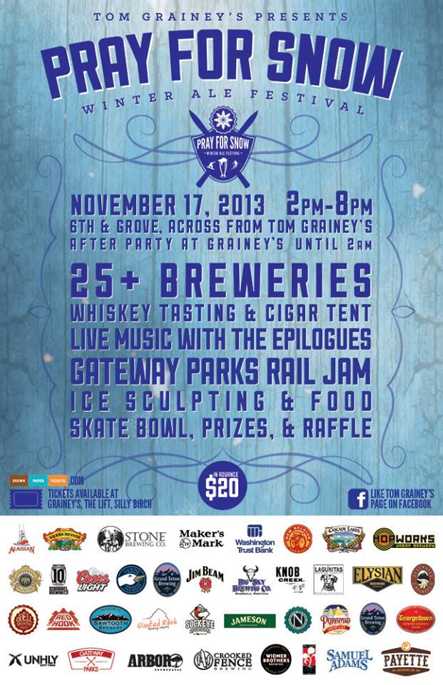 This Sunday Nov. 17th in Boise, ID. UNHLY is sponsoring the Pray For Snow WInter Ale Fest. We will have a booth setup with product for sale. Come on down if you're in the area. 6th and Grove St. Also check out the Gateway Parks Rail Jam and the plethora of beers from 25+ breweries.  Get Tickets Here.