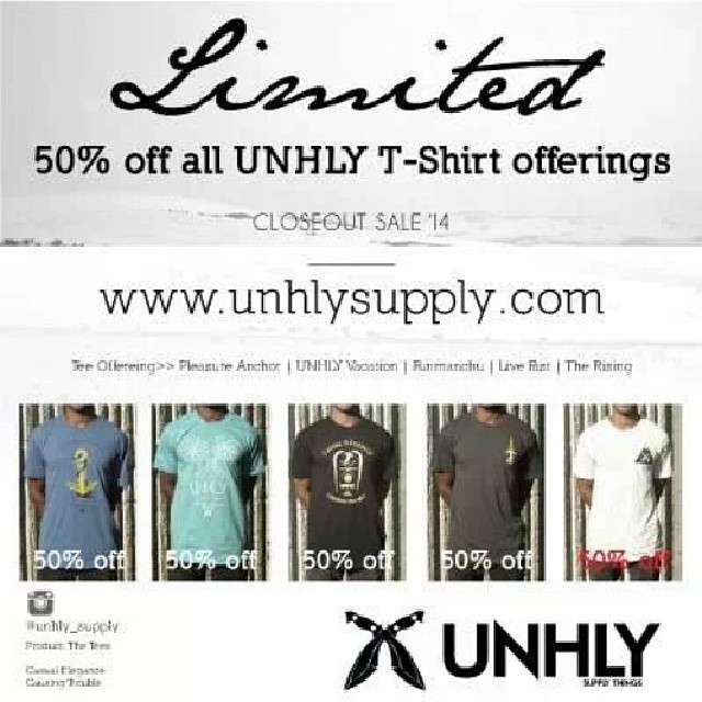 50% off all #unhly tees until we run out. Limited quantities www.unhlysupply.com #clothing #sale