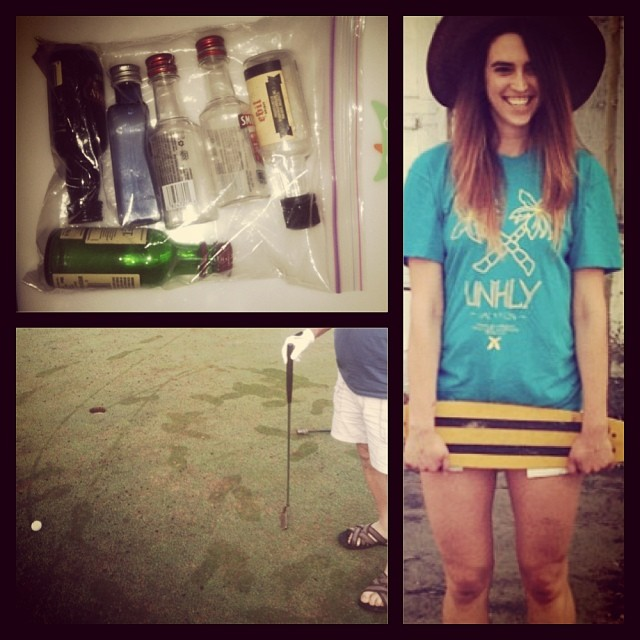 #unhly is on #vacation thank god for carry-on liquor and post-flight early #firsttracks on the #golf course #clothing #skateboarding #molokai #hawaii #vacationlife
